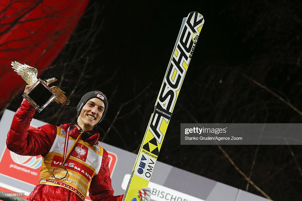 Gregor Schlierenzauer of Austria takes 1st place during the FIS Ski Jumping World Cup Vierschanzentournee (Four Hills Tournament) on January 06, 2013 in Bischofshofen, Austria.