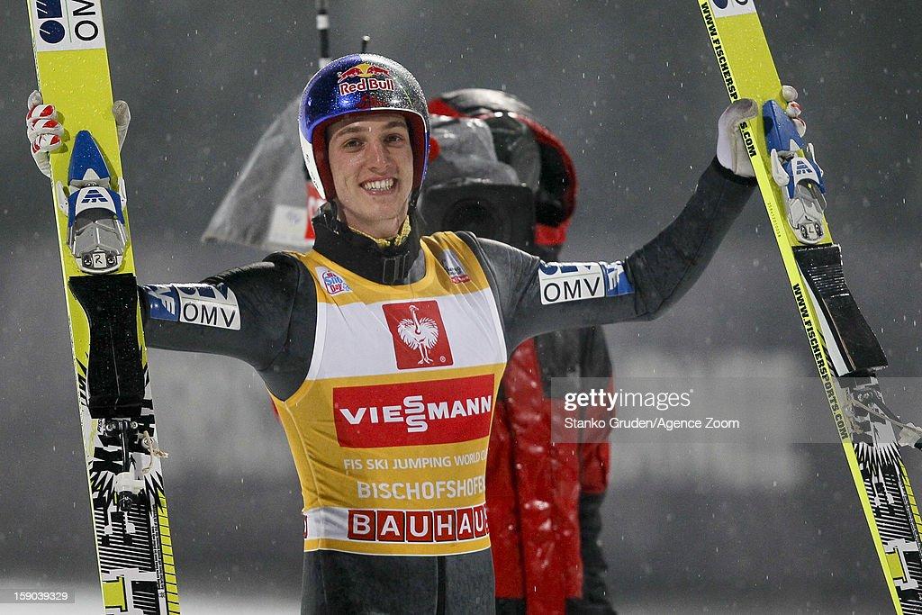 Gregor Schlierenzauer of Austria takes 1st place during the FIS Ski Jumping World Cup Vierschanzentournee (Four Hills Tournament) on January 06, 2013 in Bischofshofen, Austria.