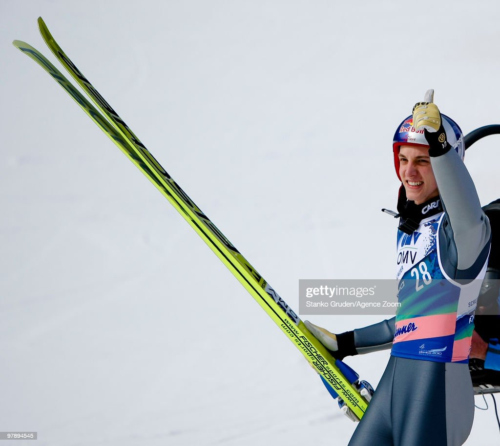 Gregor Schlierenzauer of Austria takes 2nd during the FIS Ski Flying World Championships, Day 2 HS215 on March 20, 2010 in Planica, Slovenia.