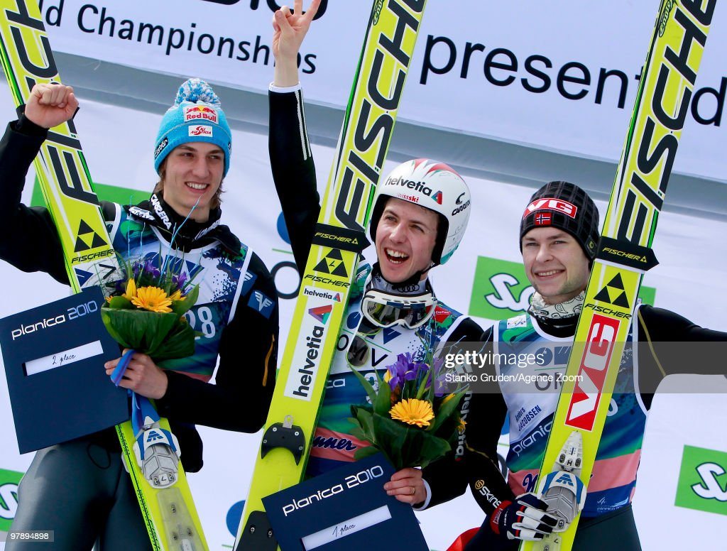 Gregor Schlierenzauer of Austria takes 2th place, Simon Ammann of Switzerland takes 1st place and Anders Jacobsen of Norway takes 3rd during the FIS Ski Flying World Championships, Day 2 HS215 on March 20, 2010 in Planica, Slovenia.
