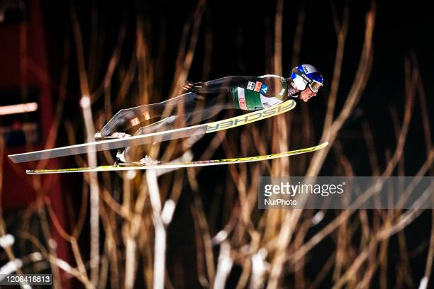 Gregor Schlierenzauer soars in the air during the first round of the Men Large Hill Individual HS130 of the FIS Ski Jumping World Cup in Lahti,...