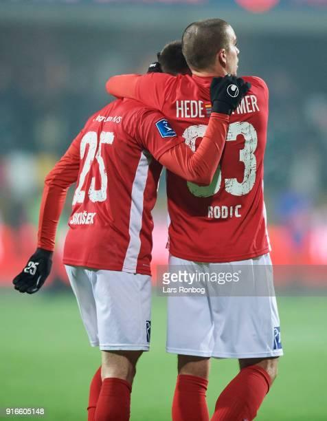 Gregor Sikosek and Vladimir Rodic of Silkeborg IF celebrate after the Danish Alka Superliga match between Silkeborg IF and AaB Aalborg at Jysk Park...