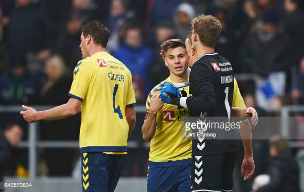 Gregor Sikosek of Brondby IF and Goalkeeper Frederik Ronnow of Brondby IF shake hands after the Danish Alka Superliga match between FC Copenhagen and...