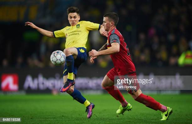 Gregor Sikosek of Brondby IF and Karlo Bartolec of FC Nordsjalland compete for the ball during the Danish Alka Superliga match between Brondby IF and...