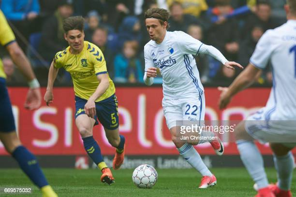 Gregor Sikosek of Brondby IF and Peter Ankersen of FC Copenhagen in action during the Danish Alka Superliga match between Brondby IF and FC...