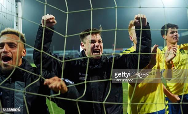 Gregor Sikosek of Brondby IF celebrates after the Danish Alka Superliga match match between Sonderjyske and Brondby IF at Sydbank Park on February 26...