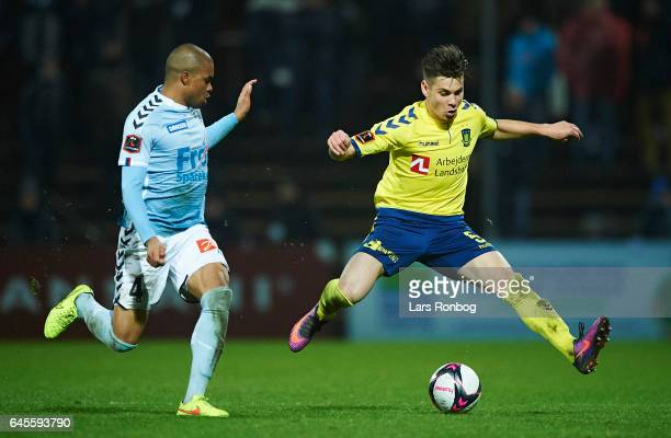 Gregor Sikosek of Brondby IF in action during the Danish Alka Superliga match match between Sonderjyske and Brondby IF at Sydbank Park on February 26...