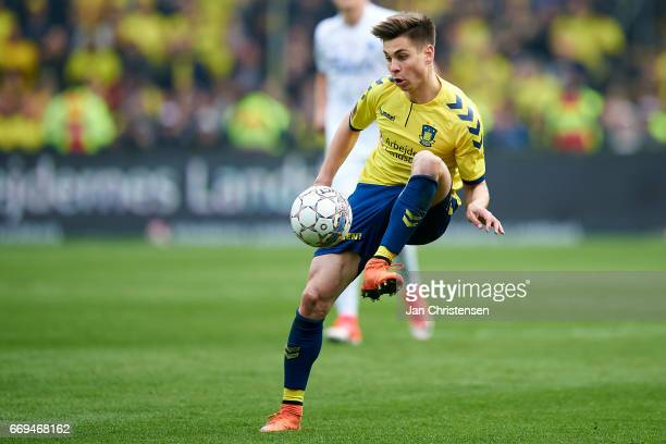 Gregor Sikosek of Brondby IF in action during the Danish Alka Superliga match between Brondby IF and FC Midtjylland at Brondby Stadion on April 17...