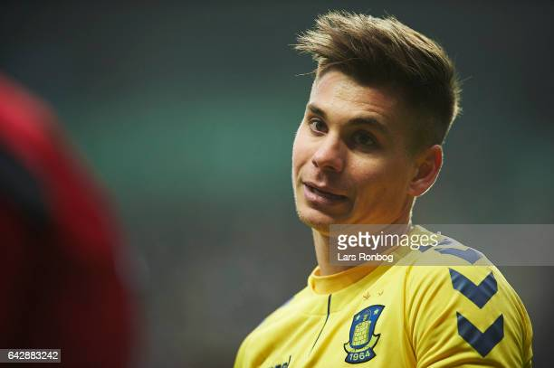 Gregor Sikosek of Brondby IF looks on during the Danish Alka Superliga match between FC Copenhagen and Brondby IF at Telia Parken Stadium on February...