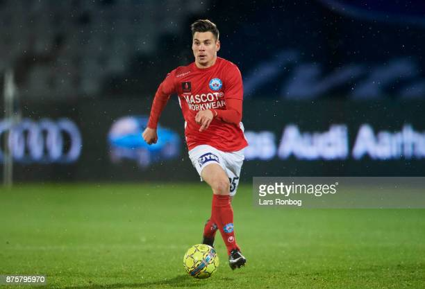 Gregor Sikosek of Silkeborg IF controls the ball during the Danish Alka Superliga match between AGF Aarhus and Silkeborg IF at Ceres Park on November...