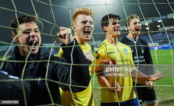 Gregor Sikosek Zsolt Kalmar Christian Norgaard and Goalkeeper Frederik Ronnow of Brondby IF celebrate after the Danish Alka Superliga match match...
