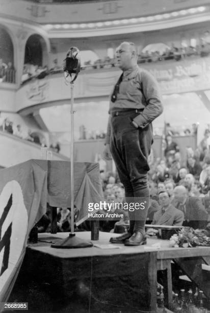 Gregor Strasser Chief Party Organiser of the National Socialists speaking at a Nationalist Socialist meeting at Berlin