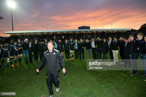 Gregor Townsend Glasgow coach joins his squad at the final whistle of the Pro12 Semi Final between Glasgow and Ulster at Scotstoun Stadium on May 22...