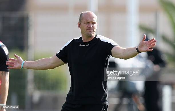 Gregor Townsend the Glasgow coach issues instructions during the Heineken Cup Pool 2 match between Toulon and Glasgow Warriors at the Felix Mayol...