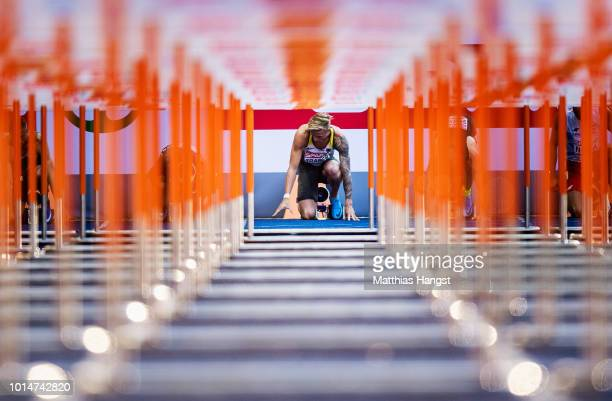 Gregor Traber of Germany competes in the Men's 110 metres hurdles heats during day four of the 24th European Athletics Championships at...
