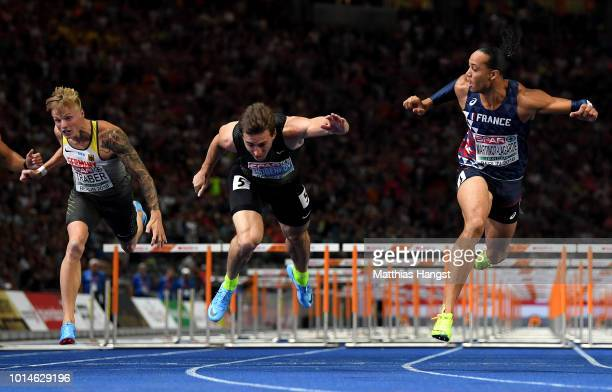Gregor Traber of Germany, Sergey Shubenkov of Authorised Neutral Athletes and Pascal Martinot-Lagarde of France compete in the Men's 110m Hurdles...