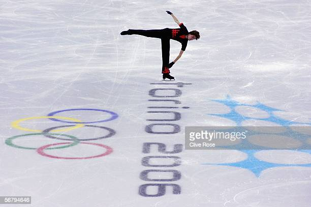 Gregor Urbas of Slovenia in action during practice for the Men's Short Program prior to the Turin 2006 Winter Olympic Games on February 9 2006 in...