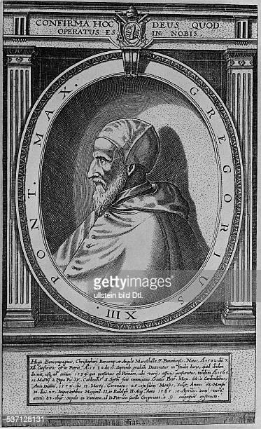 Gregor XIII eigtl Ugo Buoncompagni Papst 157285 Stich von Hulsius