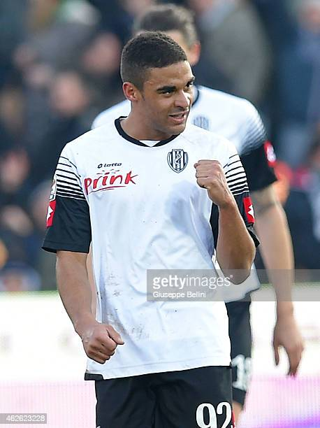 Gregore Defrel of Csena celebrates after scoring the opening goal during the Serie A match between AC Cesena and SS Lazio at Dino Manuzzi Stadium on...