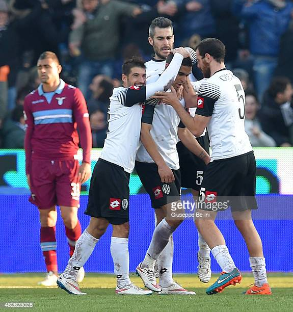 Gregore Defrel of Csena celebrates with teammates after scoring the opening goal during the Serie A match between AC Cesena and SS Lazio at Dino...