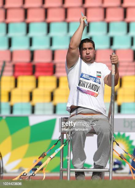 Gregori Kiryakov of Bulgaria competing in men´s javelin throw class F55 during the Berlin 2018 World Para Athletics European Championships at...
