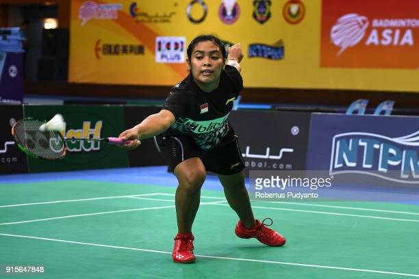 Gregoria Mariska Tunjung of Indonesia competes against He Bingjiao of China during the EPlus Badminton Asia Team Championships 2018 at Sultan Abdul...