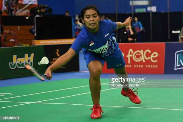 Gregoria Mariska Tunjung of Indonesia competes against Nozomi Okuhara of Japan during Women's Team Semifinal match between Japan and Indonesia in the...