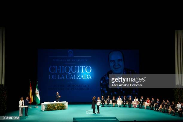 Gregorio Estaban Sanchez Fernandez 'Chiquito de la Calzada' nices receives the medal on his name by hands of President of Andalusia Susana Diaz...
