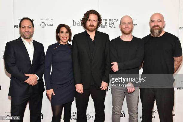 Gregorio González Florencia Larrea Director Che Sandoval Lucas Engeland and guest attend a screening of Dry Martina during the 2018 Tribeca Film...