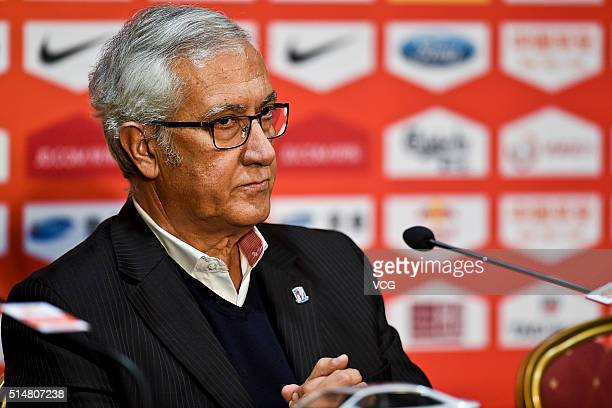 Gregorio Manzano head coach of Shanghai Greenland Shenhua attends a press conference after the Chinese Football Association Super League match...