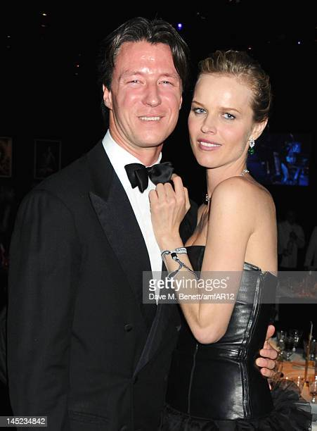 Gregorio Marsiaj and Eva Herzigova arrive at the 2012 amfAR's Cinema Against AIDS after party during the 65th Annual Cannes Film Festival at Hotel Du...