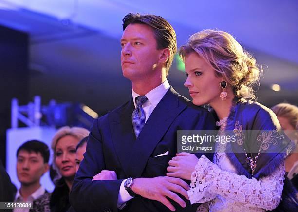 Gregorio Marsiaj and supermodel Eva Herzigovaare seen watching a fashion show to celebrate the launch of Capital Partners' luxury Esentai Mall as...