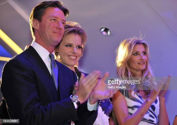 Gregorio Marsiaj supermodel Eva Herzigova and model Teresa Maxova are seen watching a fashion show to celebrate the launch of Capital Partners'...