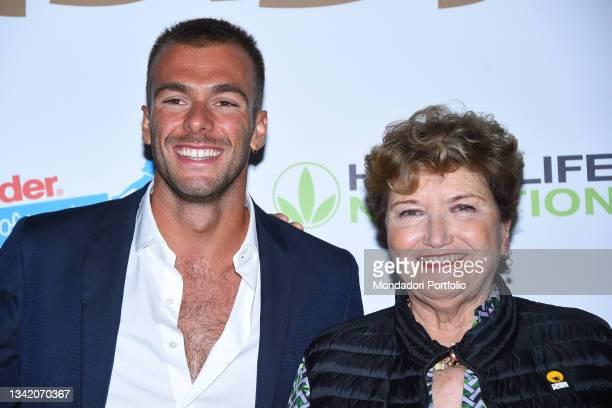 Gregorio Paltrinieri and Mara Maionchi on the blue carpet of the Gala I Meravigliosi, an event organized by the Italian swimming federation to...