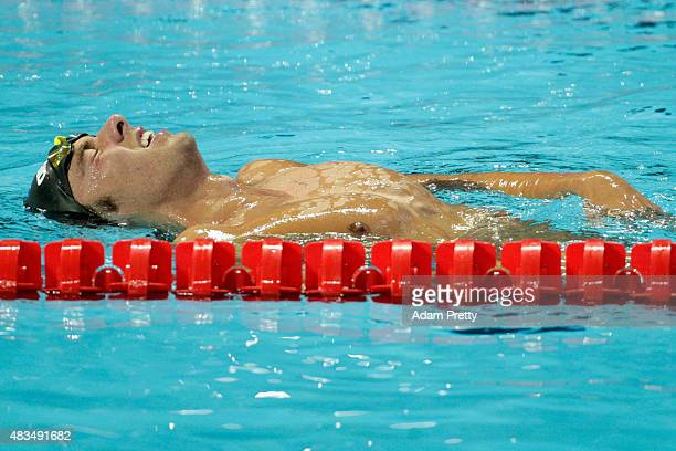 Gregorio Paltrinieri of Italy celebrates winning the gold medal in the Men's 1500m Freestyle Final on day sixteen of the 16th FINA World...
