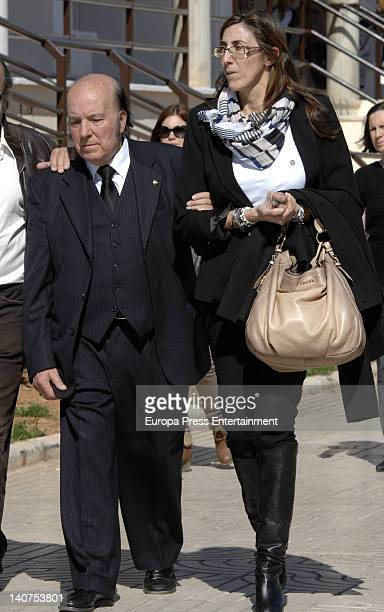 Gregorio Sanchez Fernandez 'Chiquito de la Calzada' and Paz Padilla attend the funeral for his wife Pepita Garcia who died on March 3 at Malaga...
