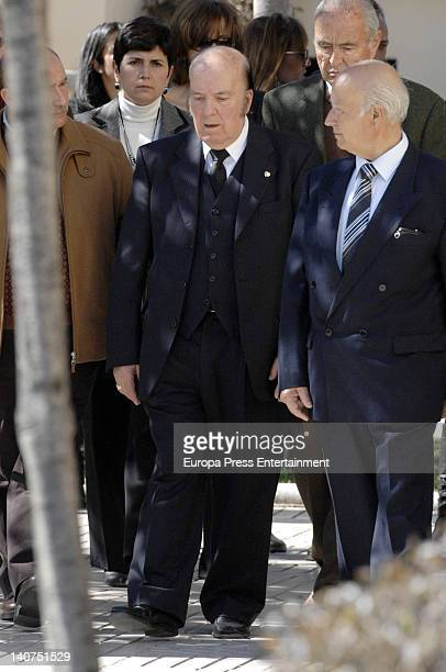 Gregorio Sanchez Fernandez 'Chiquito de la Calzada' attends the funeral for his wife Pepita Garcia who died on March 3 at Malaga graveyard on March 4...