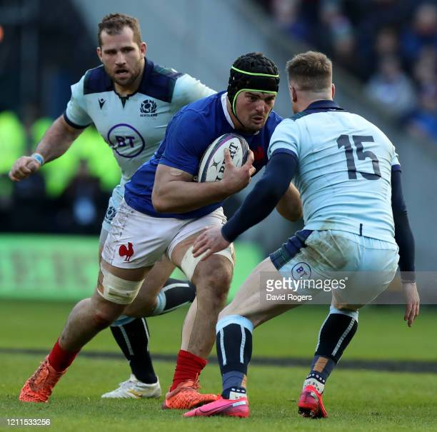 Gregory Alldritt of France takes on Stuart Hogg during the 2020 Guinness Six Nations match between Scotland and France at Murrayfield on March 08...