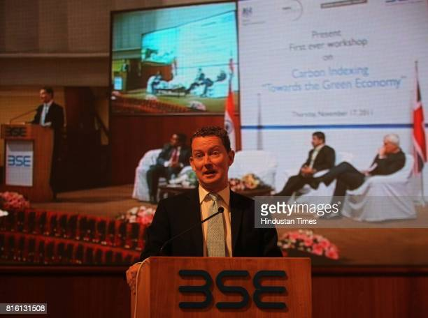 Gregory Barker gives a speech during first ever workshop on Carbon Indexing Towards the Green Economy at BSE on Thursday
