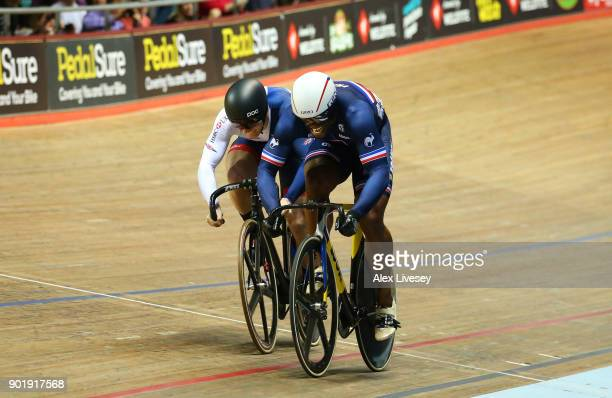 Gregory Bauge of France beats Jason Kenny of Great Britain in their Sprint Final C race to take the overall victory in the Men's Sprint Final during...