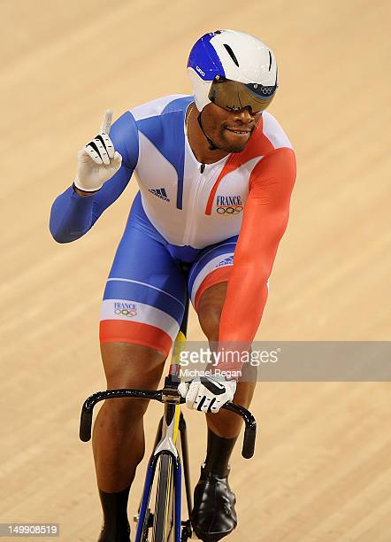 Gregory Bauge of France celebrates during the Men's Sprint Track Cycling semifinals on Day 10 of the London 2012 Olympic Games at Velodrome on August...
