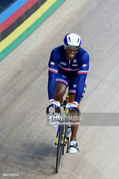 Gregory Bauge of France celebrates on the track becoming World Champion and winning the gold medal for the Mens Sprint during day 5 of the UCI Track...