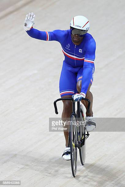 Gregory Bauge of France celebrates winning against Pavel Kelemen of the Czech Republic in the Men's Sprint 1/16 Finals on Day 7 of the Rio 2016...