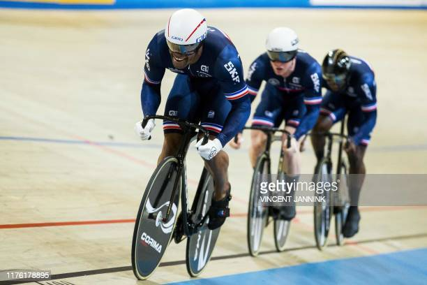 Gregory Bauge, Sebastien Vigier and Melvin Landerneau of France rides during the qualification in the Men's Team Sprint at the European Championship...