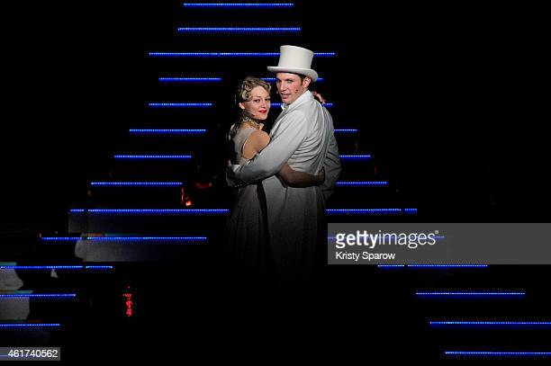 Gregory Benchenafi and Mathilde Ollivier perform onstage during the 'Mistinguett Reine des Annes Folles' at Casino de Paris on January 18 2015 in...