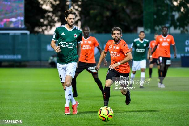 Gregory Berthier of Red Star and Jimmy Cabot of Lorient during the French Ligue 2 match between Red star and Lorient at Stade Pierre Brisson on...