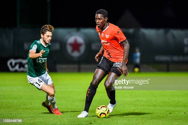 Gregory Berthier of Red Star and Sidy Sarr of Lorient during the French Ligue 2 match between Red star and Lorient at Stade Pierre Brisson on...