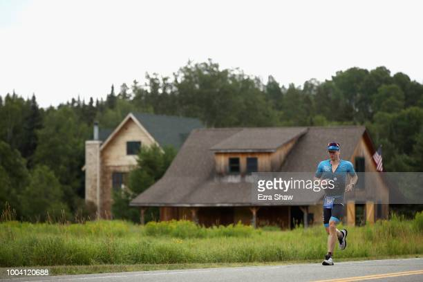 Gregory Binns competes in the run portion of the IRONMAN Lake Placid on July 22 2018 in Lake Placid New York Binns finished the race in second place