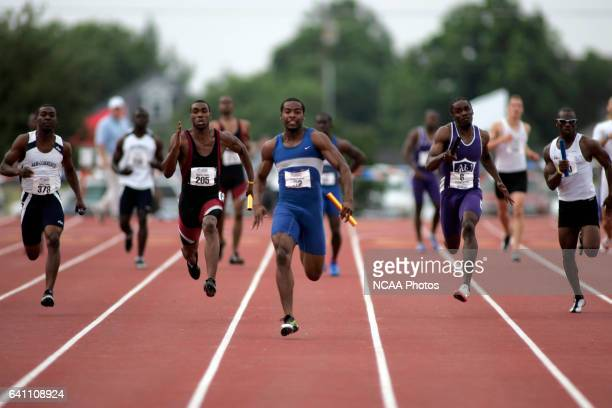 Gregory Bolden of Albany State runs the final leg as his team takes 1st place in the men's 4x100 meter relay with a time of 3968 at the 2005 NCAA...