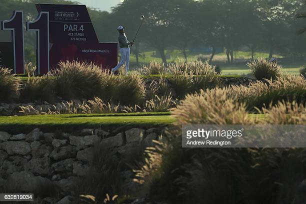 Gregory Bourdy of France hits his tee shot on the 11th hole during the second round of the Commercial Bank Qatar Masters at the Doha Golf Club on...